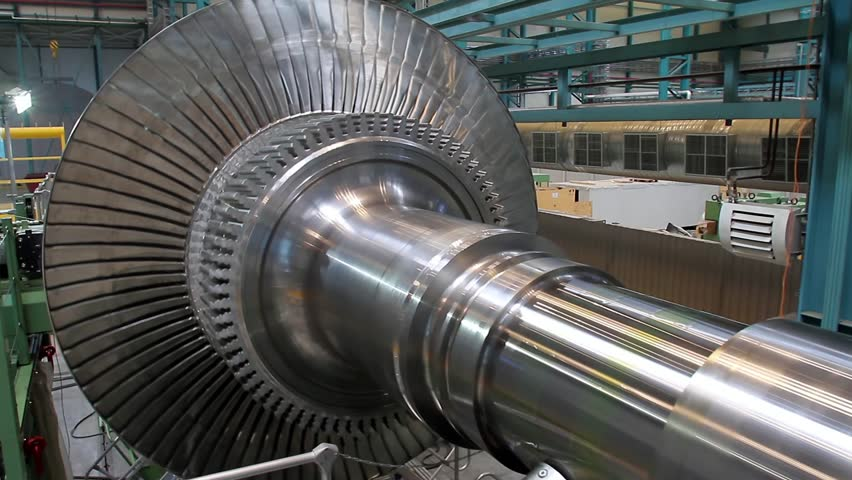 Rotation of a turbine at a plant producing power steam turbines