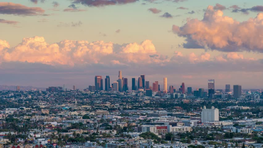 City of Los Angeles skyline changing from day to night. 4K UHD Timelapse.   Shutterstock HD Video #8980234