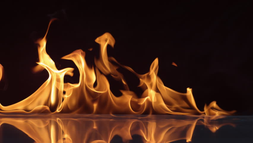 Flames burning on black background in slow motion; shot on Phantom Flex 4K at 1000 fps