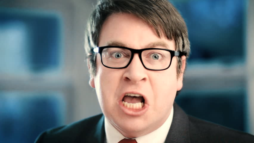 Angry businessman yelling at camera closeup  | Shutterstock HD Video #8990620