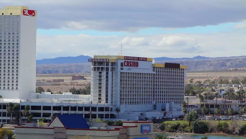 LAUGHLIN NEVADA 02/23/2015 - A pan across the casino strip - HD stock video clip