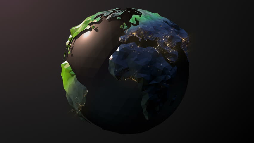 Seamless looping low poly 3d world. Dark, graphic Style. Alpha Included in the second half of the clip. - 4K stock footage clip