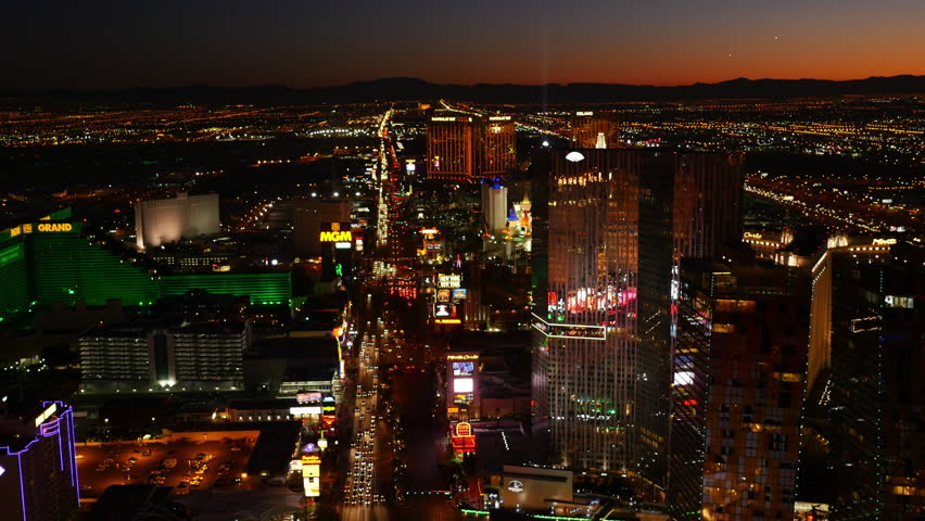 Las Vegas, Nevada, USA - November 26, 2014: Aerial view of Las Vegas Strip at night | Shutterstock HD Video #9002104