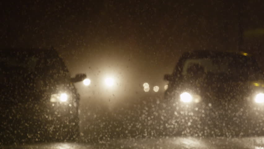 Truck Headlights In Rain : Heavy rain in ecuadorian tropical forest by night shot