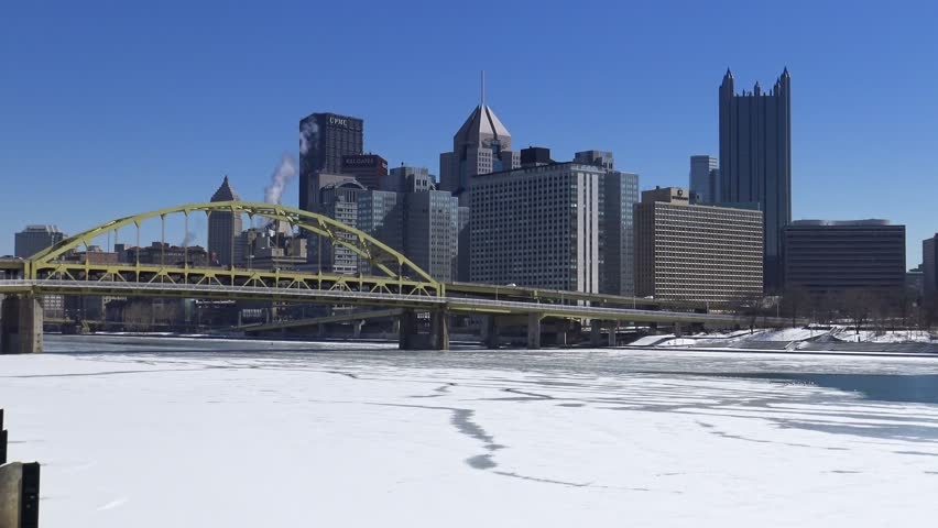 pittsburgh pa circa february 2015 a winter establishing shot of pittsburgh pa stock. Black Bedroom Furniture Sets. Home Design Ideas