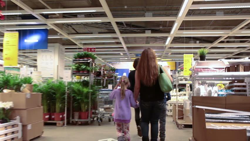 circa jan 2015 people with children walk in ikea marketplace ikea