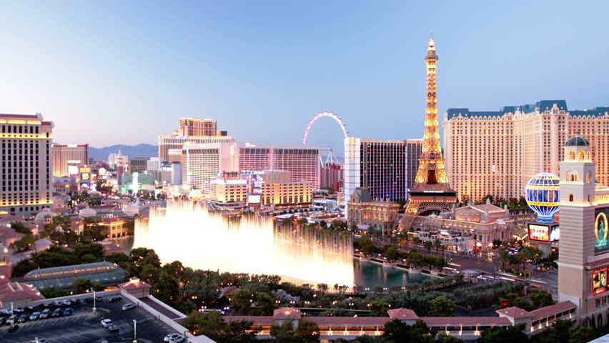 las vegas nevada oct 6 time lapse view caesars palace bellagio and paris resorts on the. Black Bedroom Furniture Sets. Home Design Ideas