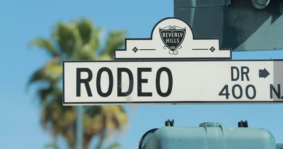 Rodeo Drive Street Sign In Beverly Hills Stock Footage