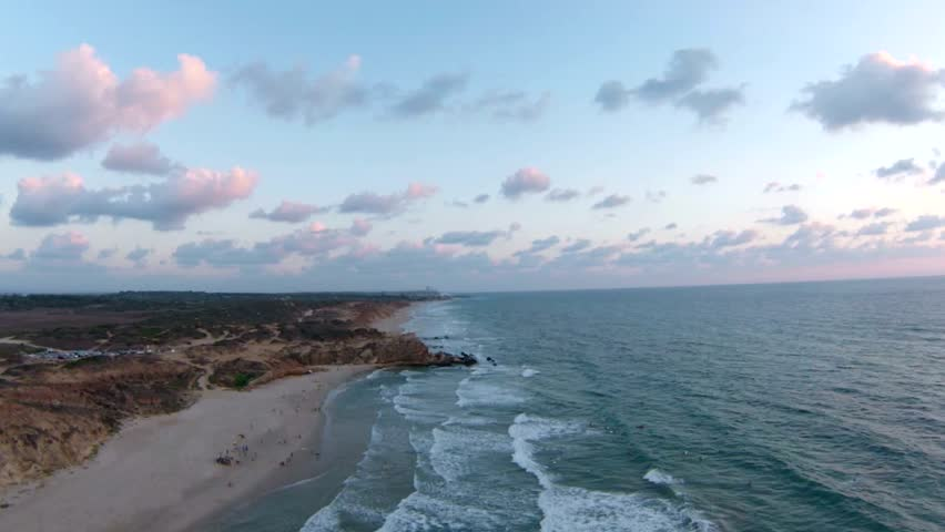 Aerial view of Mediterranean Sea cliff shore, Israel - HD stock footage clip