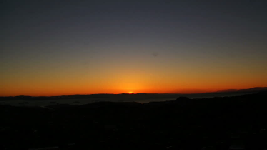 Time lapse footage of sunrise over Bay Area from Twin Peaks view point in San Francisco, California