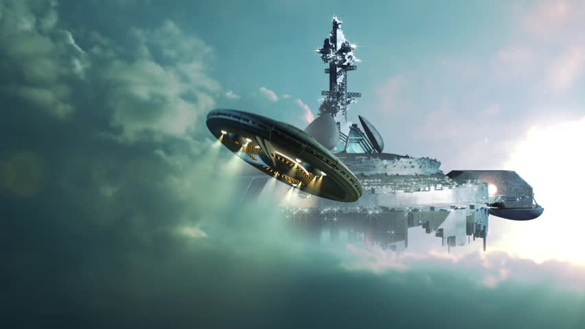 UFO Approaching A Gigantic Mother-ship In The Clouds ...