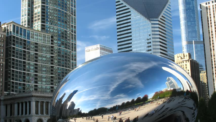 Time lapse Chicago Cloud Gate (The Bean).  - HD stock footage clip