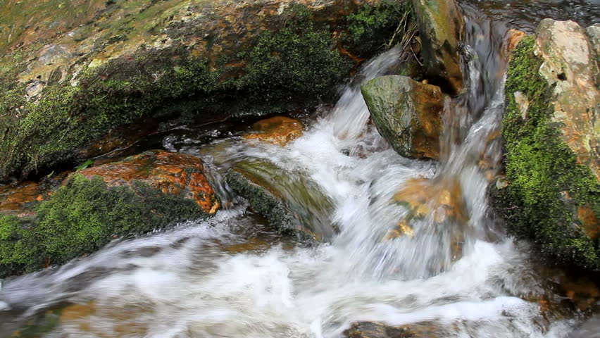 Close-up of a stream in the Republic of Ireland at Powerfalls - HD stock footage clip