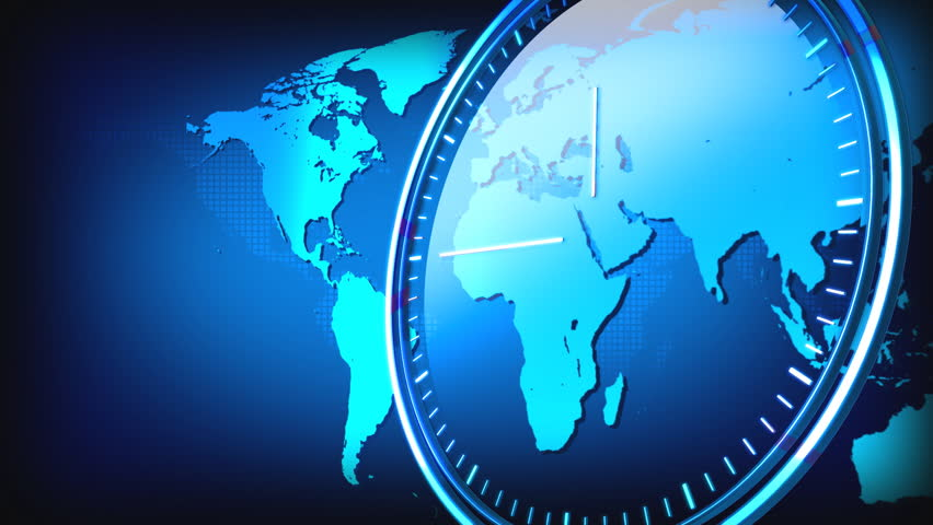 Computer-rendered world map animation for news TV channel with transparent clock.   - HD stock footage clip