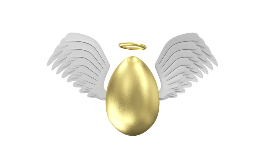 Happy Easter Concept. 4K Animation of Big Golden Egg with Angel White Wings and Golden Nimbus on different backgrounds. 4K 3840x2160 HQ Seamless Looping Video Clip with Alpha Matte and Green Screen