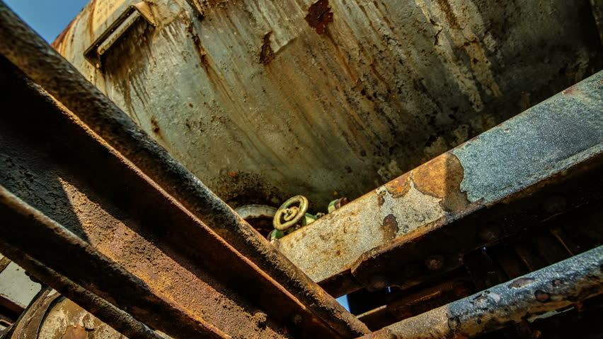 20150315 Shot Beneath Old Rusty Railroad Train Car [4K, HDR, Pan/Tilt, Dolly]: Pan/tilt dolly shot from under a decommissioned German railroad car.