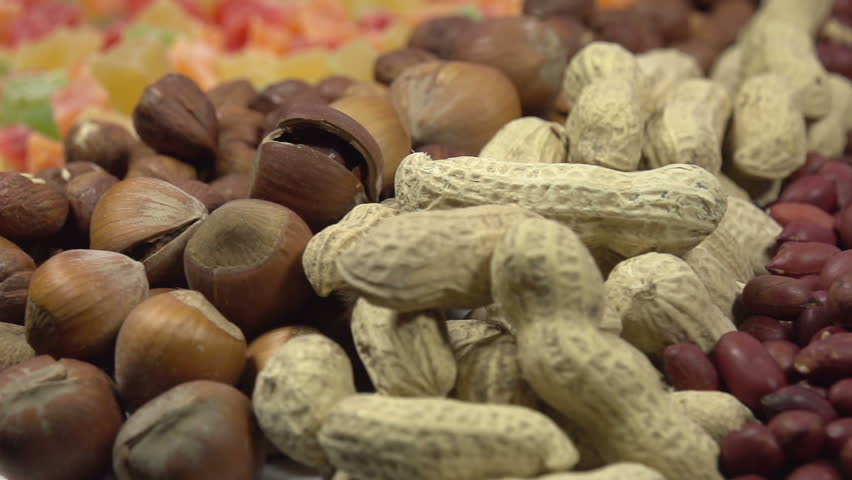 Different Types Of Nuts. Moving Past The Camera Portion Of