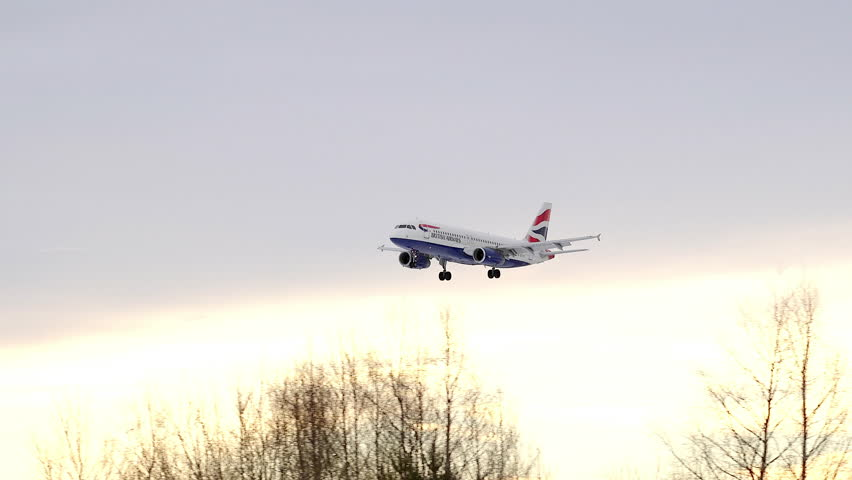 BRITISH AIRWAYS ARRIVAL IN SUPER SLOW MOTION - CA MARCH 2015: British Airways Airbus a319 arrival in super slow motion landing at Oslo Airport Norway