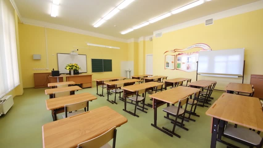 New modern school classroom with chairs on desks at sunny Room and board furniture quality