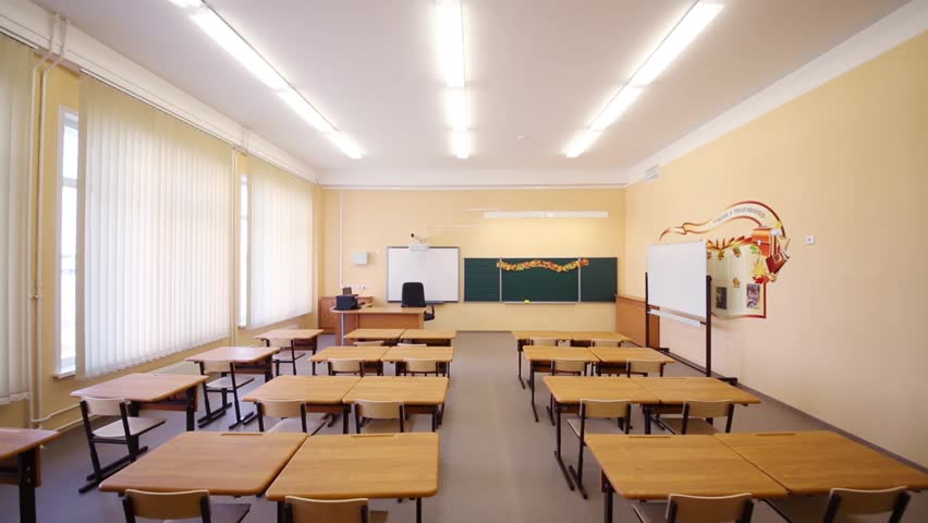 Modern Classroom Model ~ Empty classroom with wooden desks chalk board and yellow