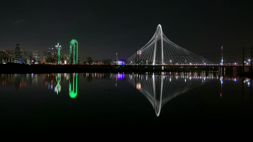 Dallas Skyline Time-lapse At Dawn W/ Highway Traffic In