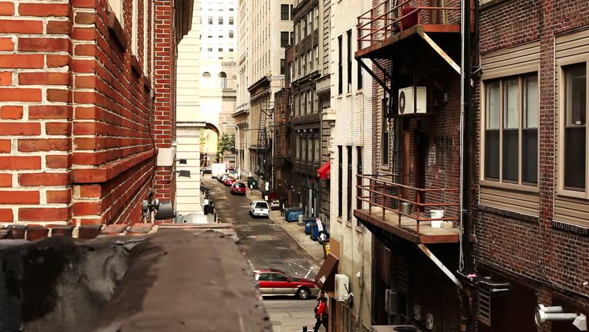 A rooftop shot looking down an alleyway in Philadelphia.