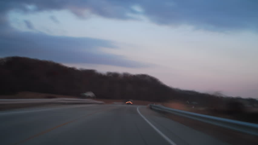 Fast country driving time lapse at dusk - HD stock video clip