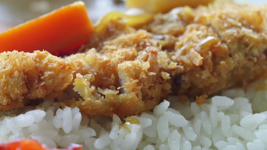 Tonkatsu Curry Rice Close Up Stock Footage Video 9419588 ...