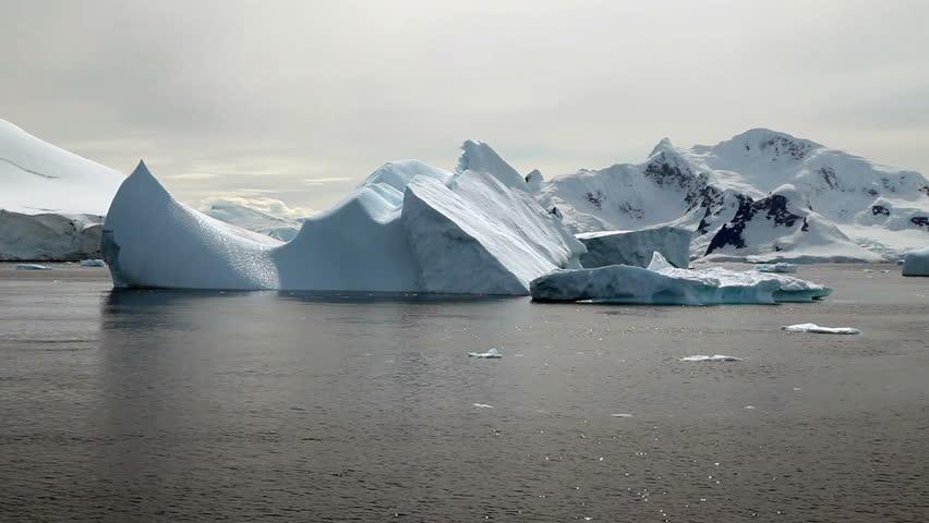 Icebergs in Antarctic peninsula - HD stock video clip
