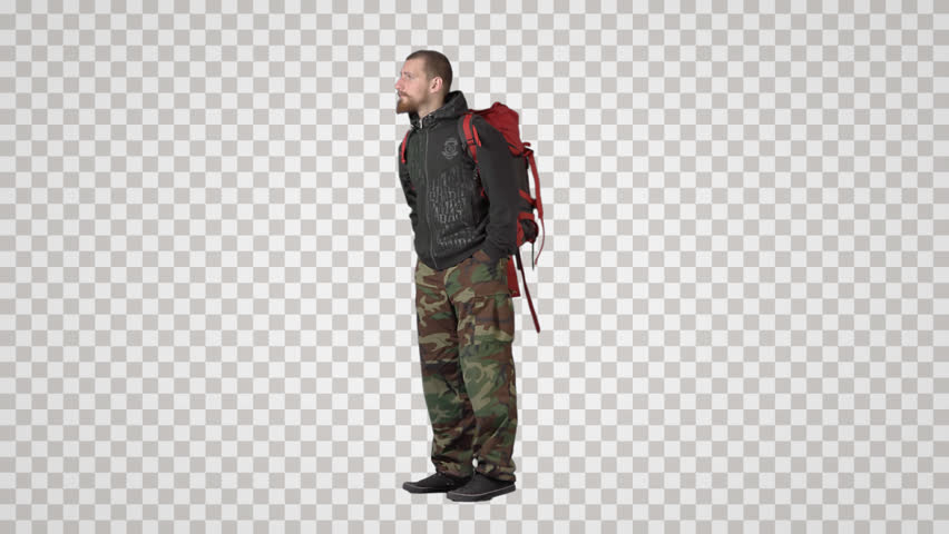 Young man in khaki with big red backpack stands, waits, calls. Side view. Footage with alpha channel. File format - mov. Codeck - PNG+Alpha Combine these footage with other people to make crowd effect