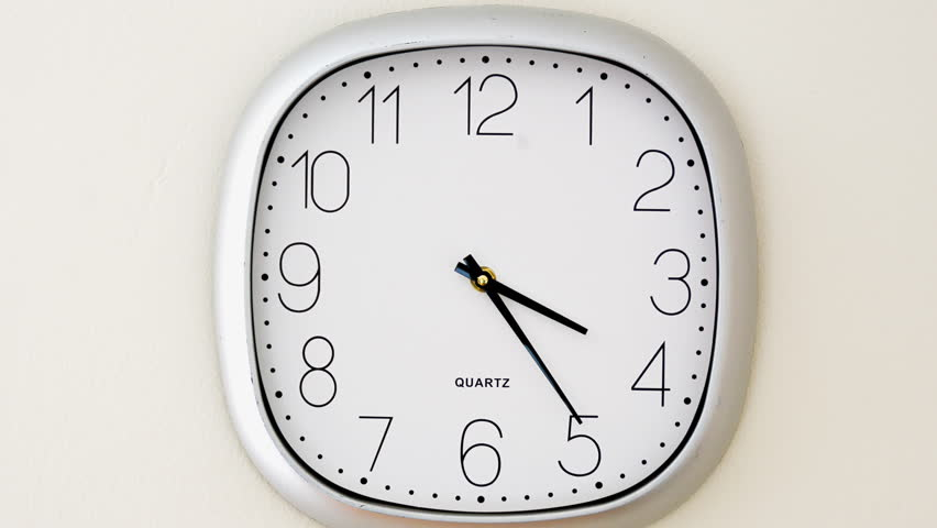 Time is money or time flies concept. Wall clock timelapse going from 4 to 6, concept about time around the time of leaving work, time flies stock footage