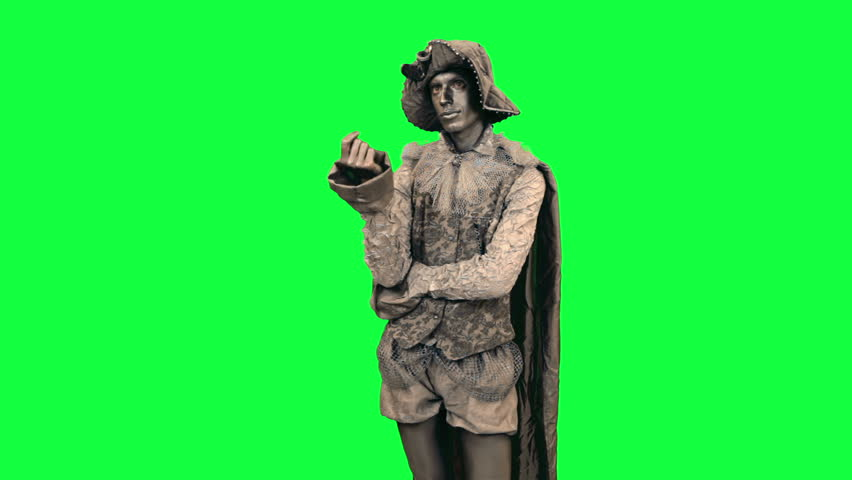 Living statue is afraid Chromakey