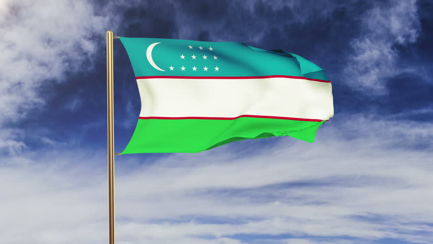 Uzbekistan flag with cloud waving in the wind. Green screen, alpha matte. Loopable animation