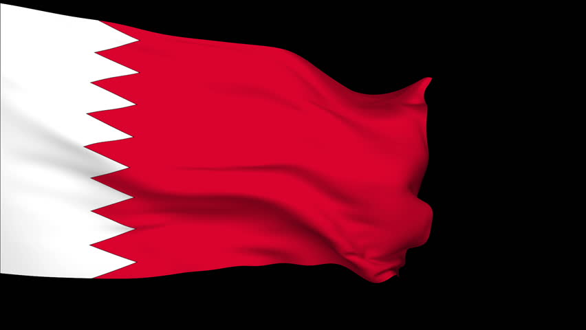 Bahrain  Flag slowly waving in the wind. Silk material. Black background can keyed by alpha. Seamless, 8 seconds long loop + alpha. Usable for composing. | Shutterstock HD Video #953458
