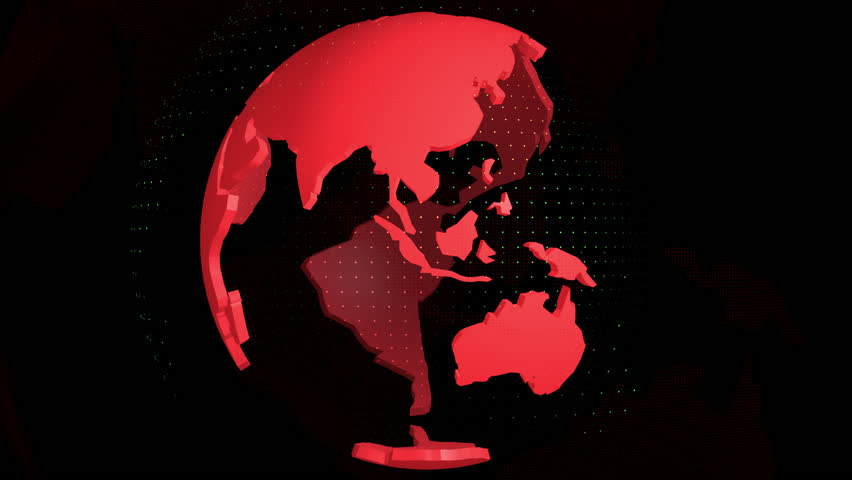 World map on globe red color
