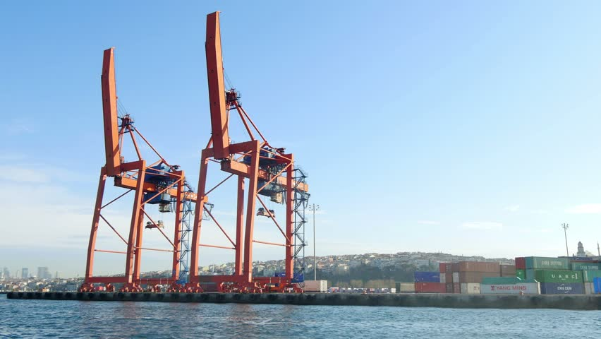 ISTANBUL - APR 6, 2015: Ship to shore gantry cranes at quayside. Haydarpasa Port build by the Anatolian Railway on April 20, 1899 has capacity of 1,200 vessels/year with open storage area of 350000 m2