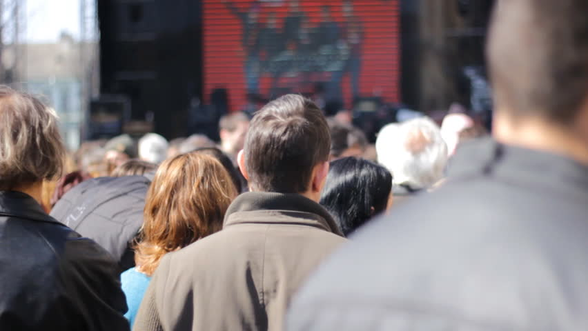 Zrenjanin,Serbia March 21 2015:Fans enjoying in Music Band Live Performing Concert on Stage 1920x1080 full hd footage