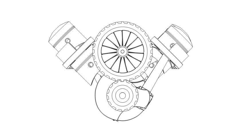 V8 Internal Combustion Engine 3d Hd 30fps Loop 3d
