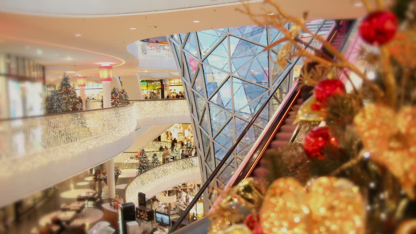 Consumer on escalators at christmas time - Time lapse - HD stock footage clip