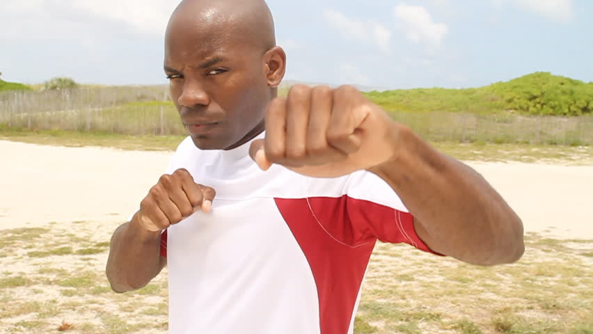 African American boxer in Miami - slow motion - HD stock video clip