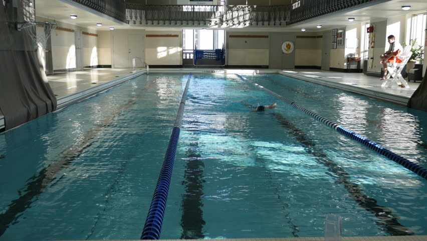 Detroit Michigan U S December 30 2014 A Lone Swimmer Swims Laps In The Indoor Pool At The