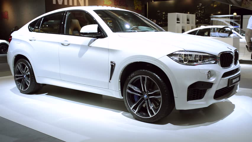 brussels belgium january 2015 blue bmw x6 m luxury crossover suv car on display during the. Black Bedroom Furniture Sets. Home Design Ideas