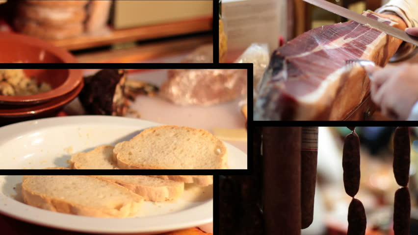 A composition with Italian food - HD stock video clip