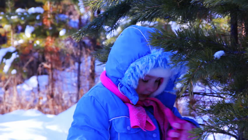 Little girl walking outdoor in the winter pine forest - HD stock footage clip