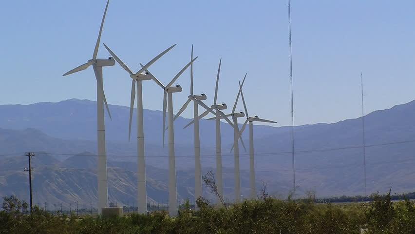 HD Footage of a Wind-farm - HD stock footage clip