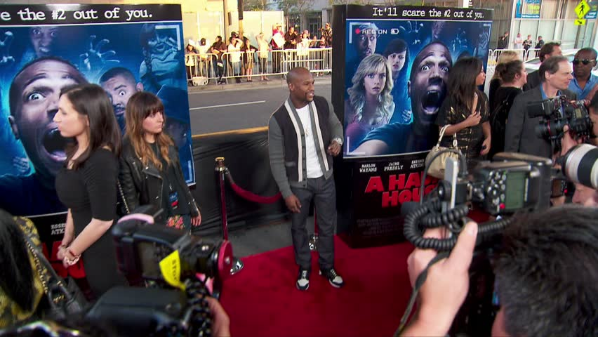 Los Angeles, CA - April 16,2014: Floyd Mayweather Jr at A Haunted House 2 Premiere, Regal Cinemas LA Live
