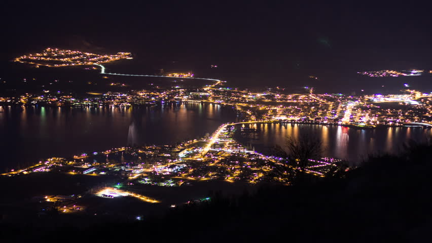Night view of Osoyoos in British Columbia, Canada with night traffic going in and out around town