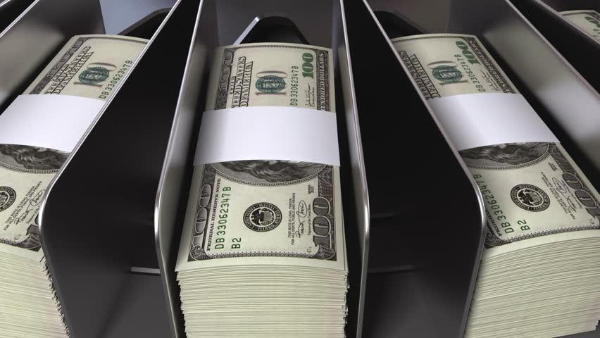 money conveyor, realistic cg animation, seamless loop - HD stock footage clip