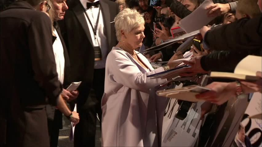 London, United Kingdom - October 23,2012: Judi Dench at Skyfall U.K. Royal Premiere, Royal Albert Hall