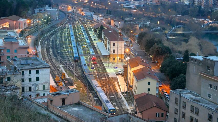 The train to Rome. Station Tivoli. Italy. UltraHD (4K)